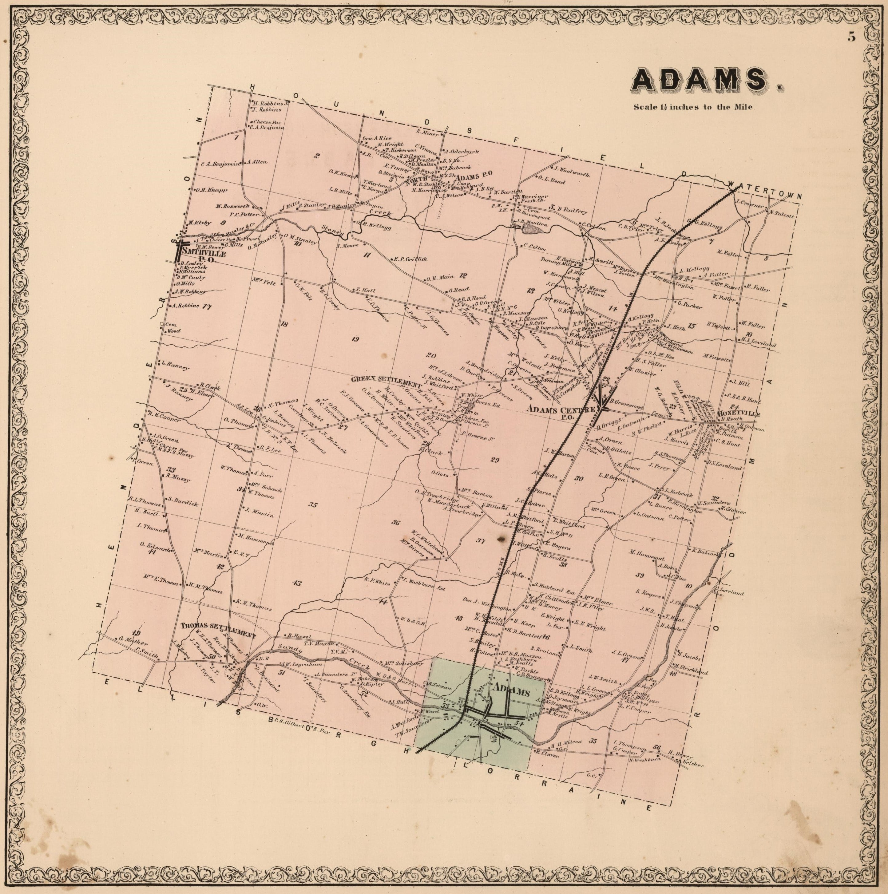 1864 Map of Adams New York
