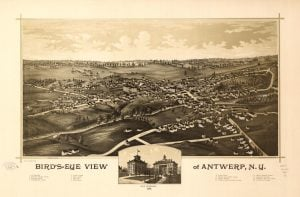 1888 Birds Eye View of Antwerp NY