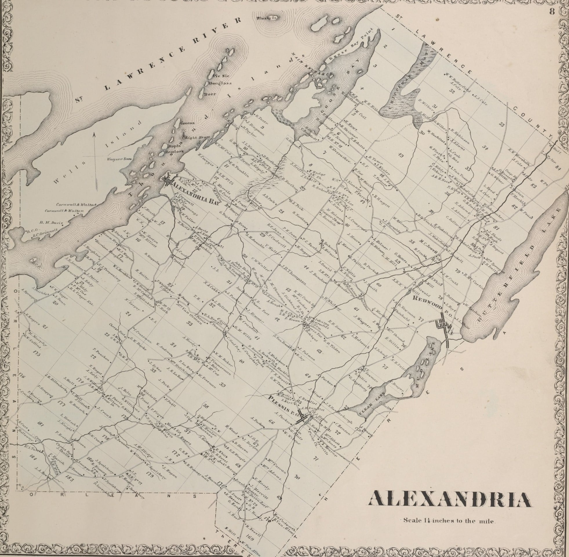 1864 Map of Alexandria Township New York
