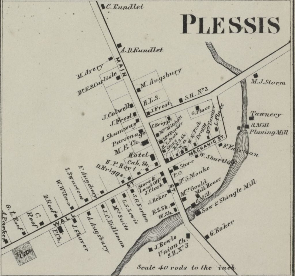 1864 Map of Plessis New York