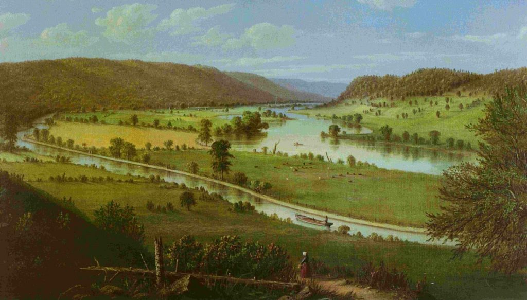 1852 Erie Canal and Mohawk River painting