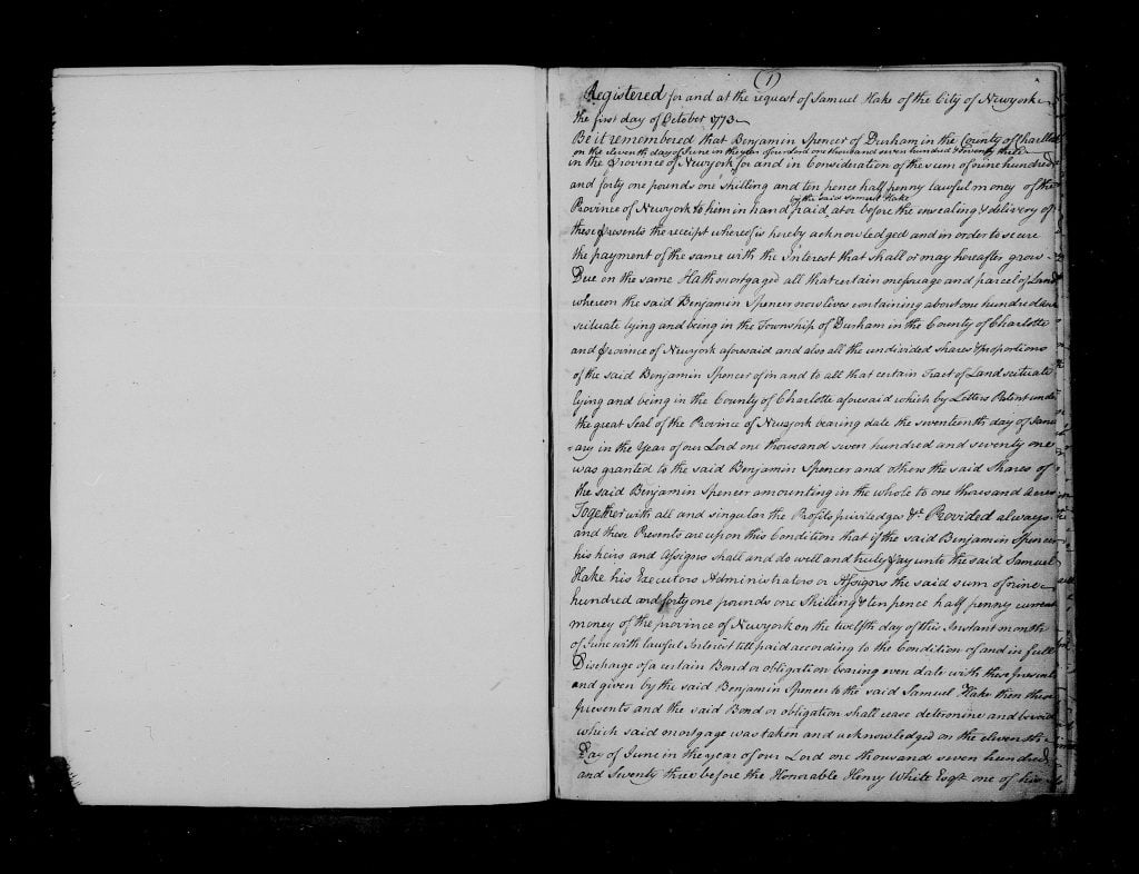 Mortgage between Samuel Hath and Benjamin Spencer Page 1