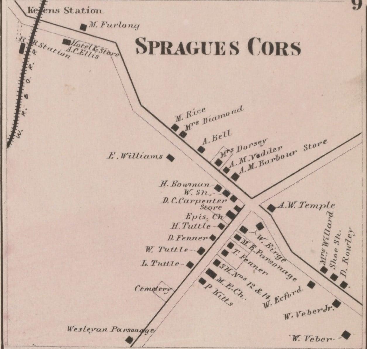 1864 Map of Spragues Corners