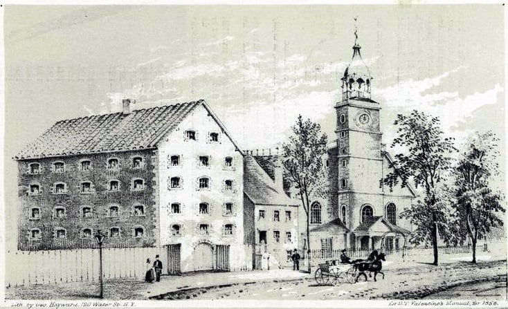 The old Sugar House & Middle Dutch Church, Liberty St NY in 1830 by George Hayward in 1858