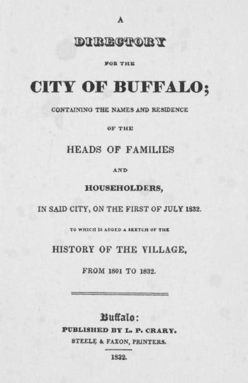 1832 Buffalo City Directory