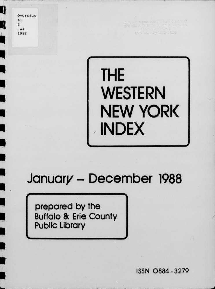 The Western New York Index Cover