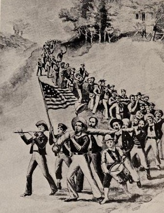 Carrying the Catble during the War of 1812 (From an old print)