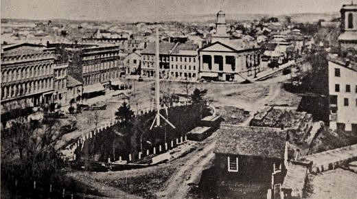 View of old Watertown, showing public square about the time of the Civil War