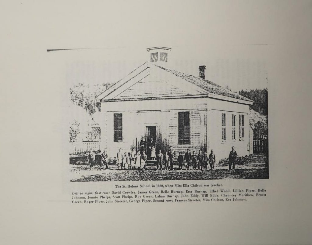 The St. Helena School in 1880, when Miss Ella Chilson was teacher
