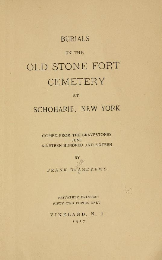 Burials in the Old Stone Fort Cemetery at Schoharie, New York
